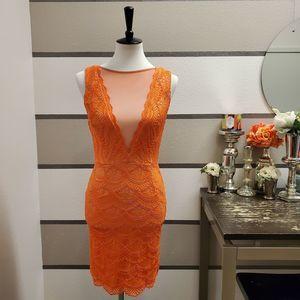 NikiBiki Orange Lace Dress Sz M